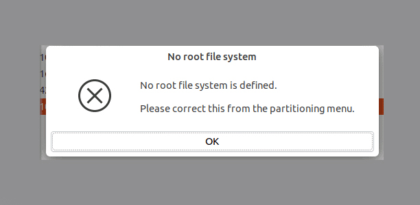 No Root File System is Defined Error